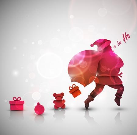 papa noel: Santa Claus con los regalos, Navidad de fondo, EPS 10