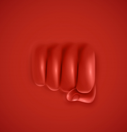 Fist on red background, punch, eps 10 Vector