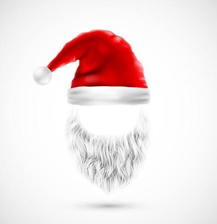 caras felices: Accesorios Santa Claus (sombrero y barba), eps 10