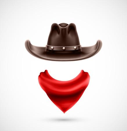 cappello cowboy: Accessori cowboy (cappello e sciarpa), eps 10