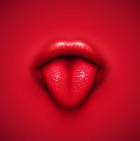 Human tongue, vector background