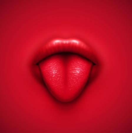 Menselijke tong, vector achtergrond Vector Illustratie