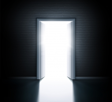 new opportunity: Wall with open door Illustration