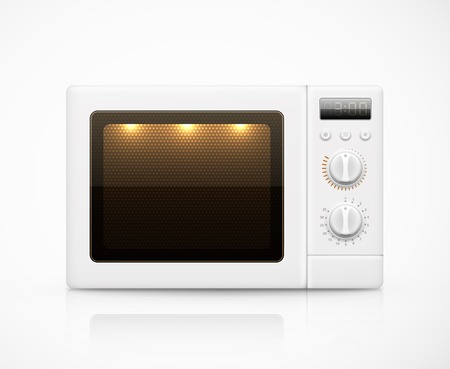 microwave oven: Isolated white microwave