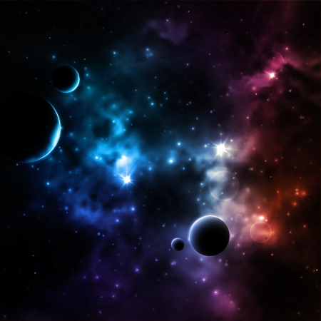 Galaxy background with planets Çizim