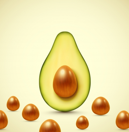 halved: Half an avocado Illustration