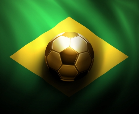 Soccer ball on  flag of Brazil