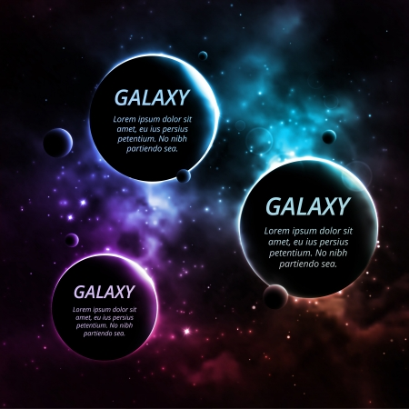 Galaxy background with three planets for text