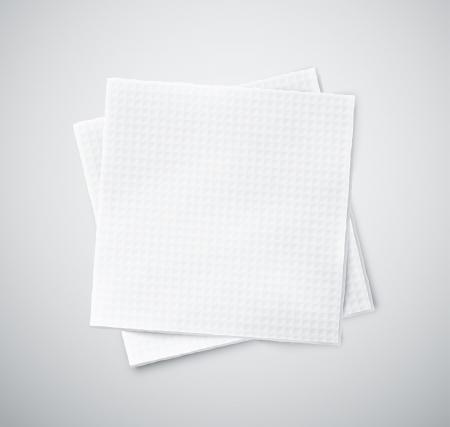 serviette: Dos servilletas blancas. Ilustración contiene transparencia y mezcla efectos Vectores