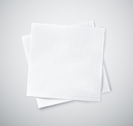 napkins: Two white napkins. Illustration contains transparency and blending effects