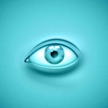 one eye: eye on blue surface Illustration