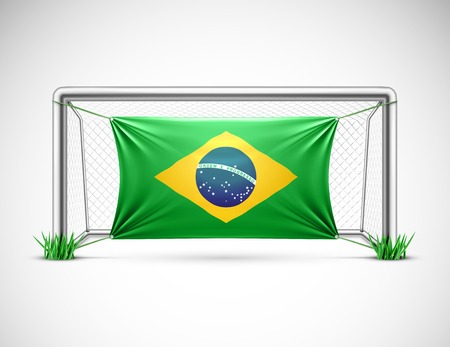 world cup: Soccer goal with flag brazil