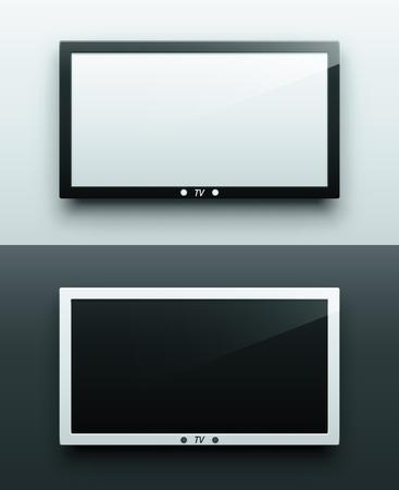 TV-Bildschirm hängen, schwarz und weiß