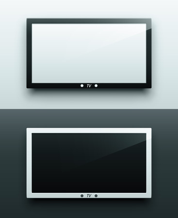 flat screen tv: TV screen hanging, black and white