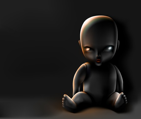 Doll on dark background Vector