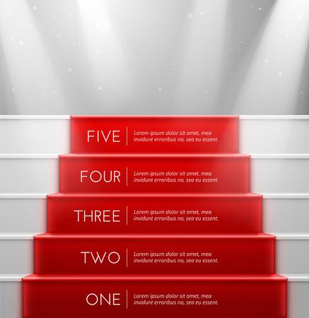 escalera: Cinco pasos, el �xito Vectores