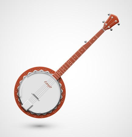 Isolated banjo, musical instrument Vector