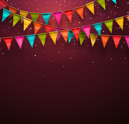 birthday celebration: Festive background with flags