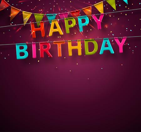 party streamers: Happy birthday festive background