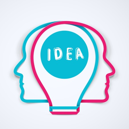 two minds: Best idea, concept illustration  Illustration
