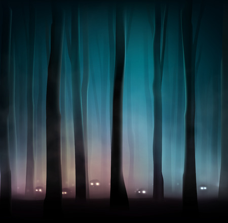 spooky eyes: Monsters in dark forest