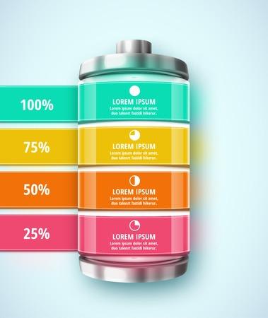 バッテリー、テンプレート インフォ グラフィック