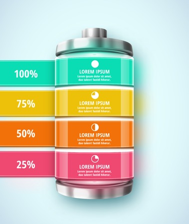 Battery, template infographic   Ilustrace