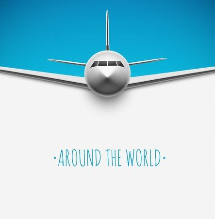 世界中の飛行機の背景  イラスト・ベクター素材