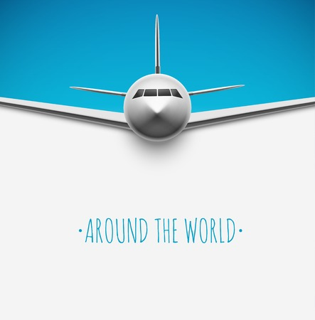 Background with airplane, around the world      Vector