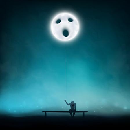 Deep depression, unbearable loneliness   Vector