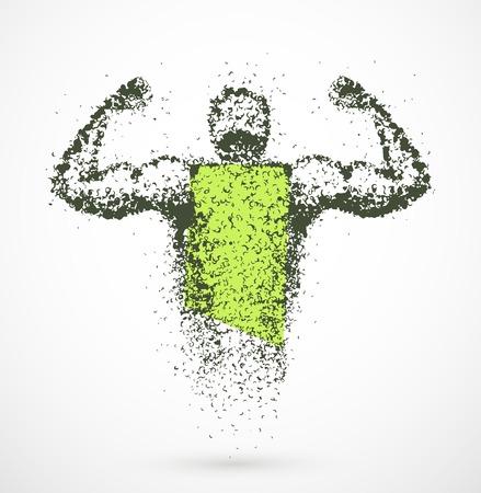 flexing: Muscular abstract man