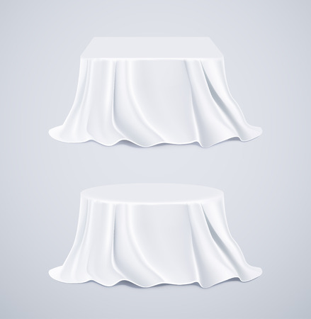 Two tables with white tablecloths  Illustration