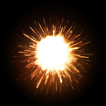 Powerful explosion on black background Stock Illustratie