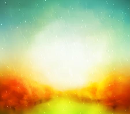 táj: Absztrakt ősszel, akvarell Illusztráció