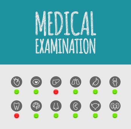 Medical examination, icons Vector