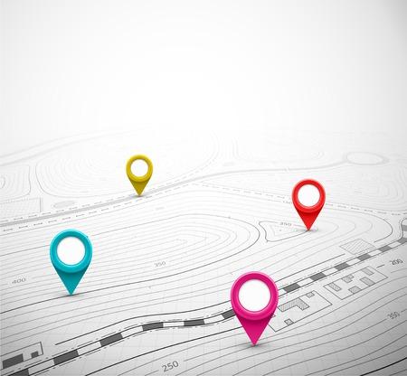 Carte topographique avec la broche, eps 10 Banque d'images - 31613230