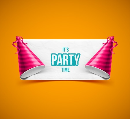 gorros de fiesta: Bandera de fiesta con sombreros de fiesta, eps 10 Vectores