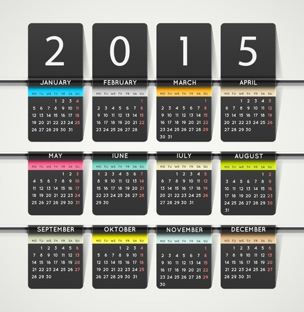 Calendar 2015 year, week starts on monday, eps 10 Vector