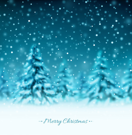 Winter background with trees, Merry Christmas, eps 10 Vector
