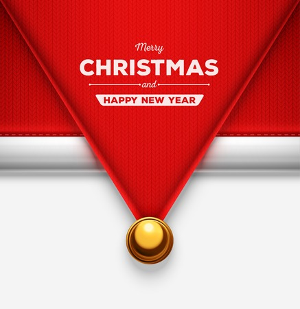 new year's cap: Santa Claus hat, Merry Christmas and Happy New Year, eps 10