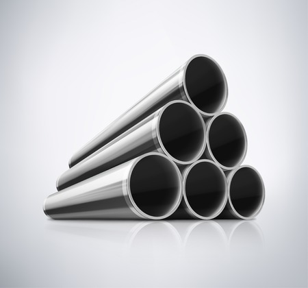 steel factory: Stack of metal pipes, eps 10