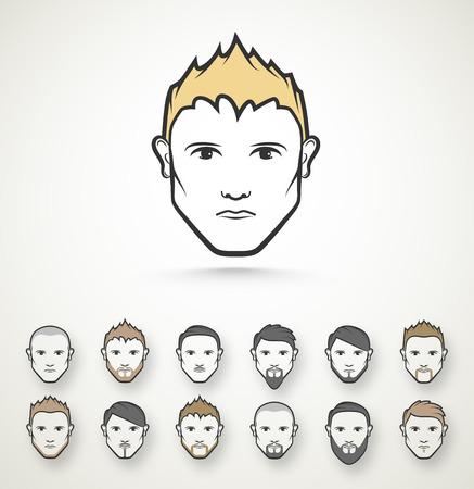 Men\'s style (hairstyle and beard), eps 10 Stock Illustratie