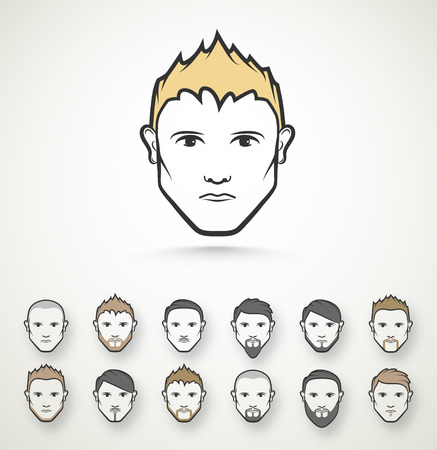Mens style (hairstyle and beard), eps 10 Illustration