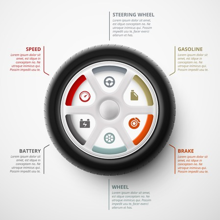 Car wheel, infographic elements, eps 10 Stock Illustratie