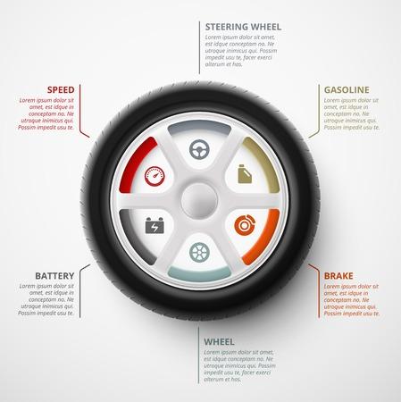 Car wheel, infographic elements, eps 10 Illustration
