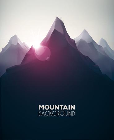 высокогорный: Горный пейзаж, природа фон, EPS 10