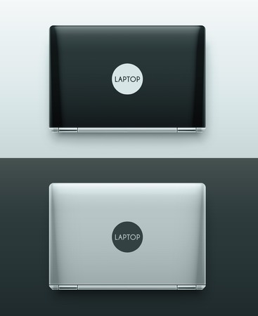 Two laptops, black and white, top view, eps 10 Illustration