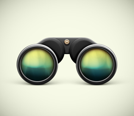 Isolated black binoculars, eps 10 Stock Illustratie