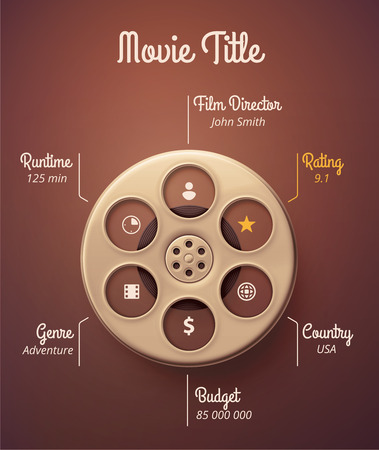 Statistics movie, infographic template Ilustrace