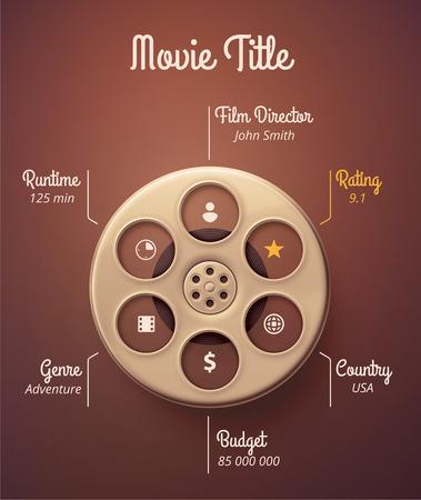 Statistics movie, infographic template Illustration